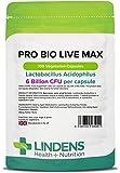 Lindens Probiotic Max 6 Billion CFU de gran resistencia (+ prebiótico) en cápsulas | 100 Paquete | Lactobacilo acidófilo de gran potencia para ayudar a la digestión
