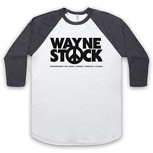 Inspiriert durch Waynes World 2 Waynestock Unofficial 3/4 Hulse Retro Baseball T-Shirt Weis & Dunkelgrau