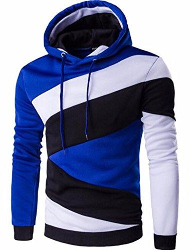 Men's Hombre Hip Hop Color Stitching Slim Fit Hoodie Blue Black