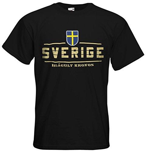 Schweden Sverige Fanshirt T-Shirt Länder-Shirt im modernen Look Schwarz