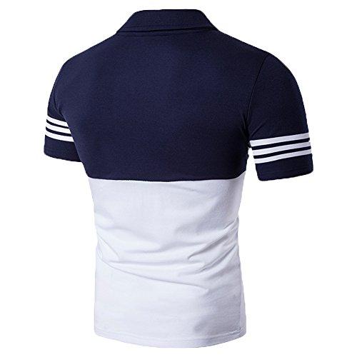 Glestore Uomo Estate Casual Striscia Scollo Manica Corta Magliette Polo T-shirt Tops Marina