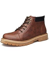 qianchuangyuan Botas de Tobillo de los Hombres de Cuero PU de Martin Caliente Botas Zapatos,