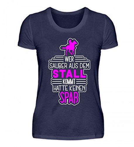 Reiter Reiten Pferde Spruch T-Shirt Damen Wer Sauber Aus Dem Stall Kommt Geschenk Tshirt Pferdeliebhaber