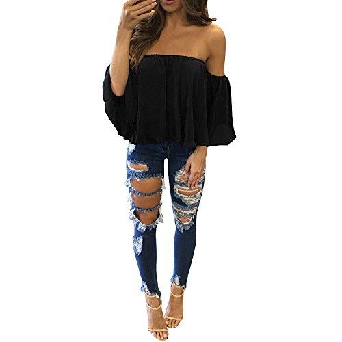 TUDUZ Frauen Langarm Pullover T-Shirt, Damen Schulterfrei Crop Tops Elegant Bluse (Schwarz, S)