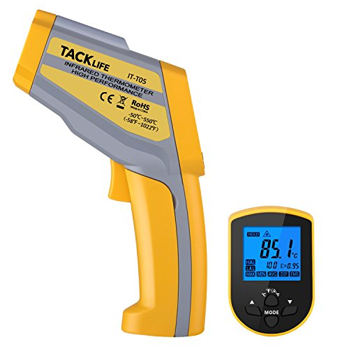 Termometro Digitale Tacklife IT-T05 Termometro a 2 Laser Tester Professionale Misuratore di Temperatura -50 ℃ ~ 550 ℃ Emissività Regolabile Misura DIF/MAX/MIN/AVG
