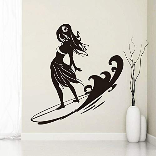 58x62cm Art Design Home Dekoration Surfing Frau Wall Sticker Removal House Decor Creative Beautiful Decals