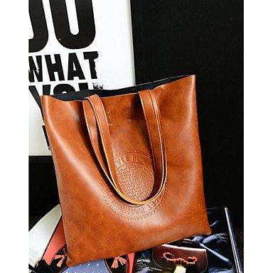 SUNNY KEY-Borsa a tracolla @ Donna Borsa a tracolla PU (Poliuretano) Per tutte le stagioni Casual Rotondi Cerniera Nero Rosso Marrone , brown brown