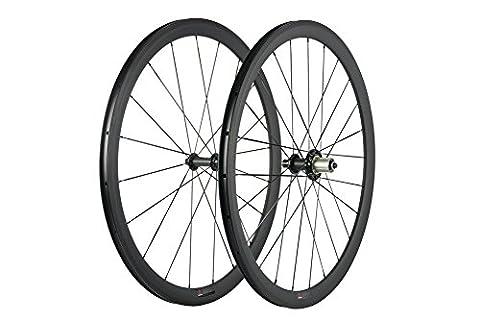 WINDBREAK BIKE Carbon Fiber Bicycle Wheelset 38mm Clincher Wheel 700c with Powerway R51 Hub