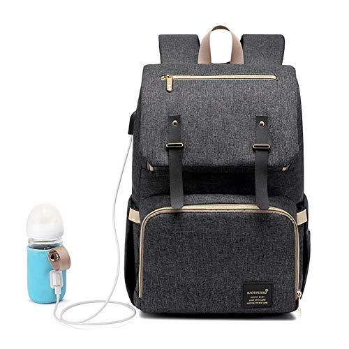 (Baby Wickeltasche Wickelrucksack rucksack, mit USB-Lade Port Multifunktionale Oxford Fabrics Wasserdichte Großem Volumen babytasche Kein Formaldehyd (Schwarz))