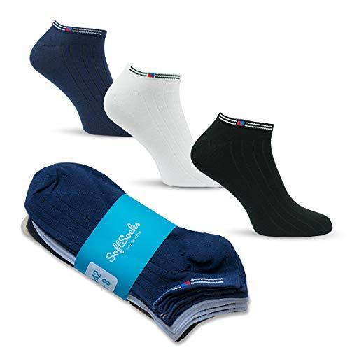 SoftSocks Klassische SNEAKER Socken für Damen, Herren und Jugendliche, verschiedene Grössen, 6 Paar - Schwarz, Weiß oder Mix! Baumwollenreiche Qualität! (2 x Schwarz, 2 x Dunkelblau, 2 x Weiss, 43-46) -