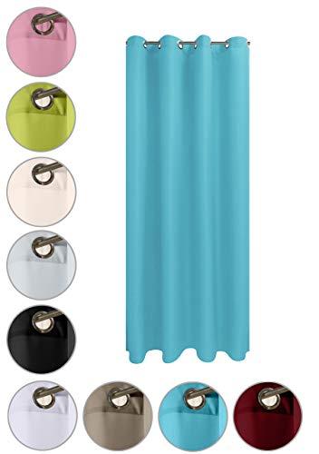 wometo Vorhang mit rostfreien Ösen Blickdicht 140x245 Türvorhang - türkis (Petrol)