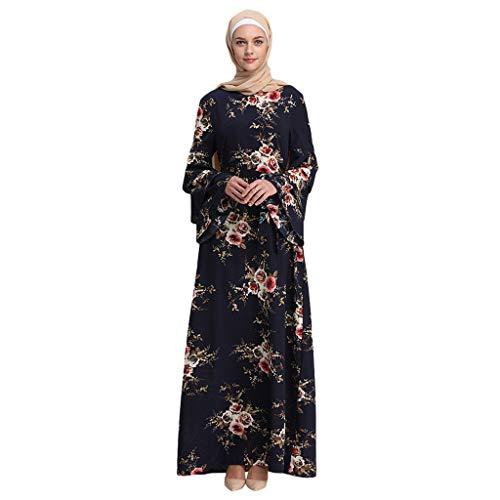 GJKK Muslim Blumenkleid Muslimische MaxiKleid Muslimische Roben Trompete Ärmel Stickerei Muslimische Elegantes Swing-Kleid Schwarz/Rot/Weiß/Gelb (Trompete Mütze)
