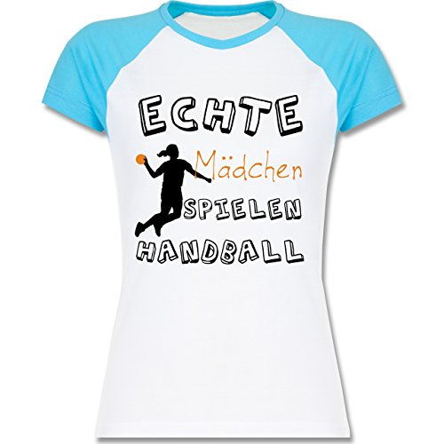 Shirtracer Handball - Echte Mädchen Spielen Handball Verspielt - Zweifarbiges Baseballshirt/Raglan T-Shirt für Damen Weiß/Türkis