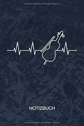 NOTIZBUCH: A5 Kariert - Violinist Heft - Instrumente Notizheft 120 Seiten KARO - Geige Herzklopfen Notizblock Herzschlag Geigenspieler Motiv - Instrumentalist Geschenk