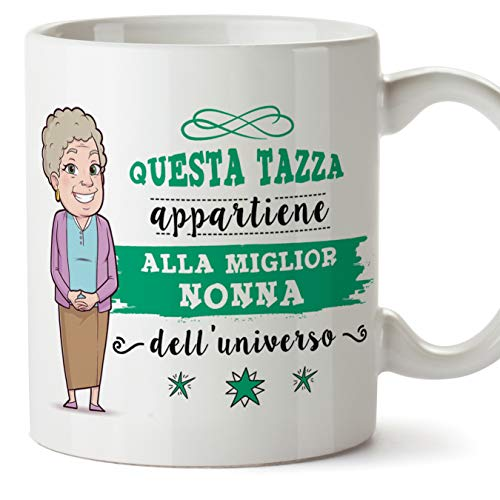 Mugffins Nonna Tazza/Mug - Questa Tazza Appartiene alla Miglior Nonna dell'Universo - Idea Regalo Festa della Mamma/Tazza Migliore Nonna in Ceramica. 350 m