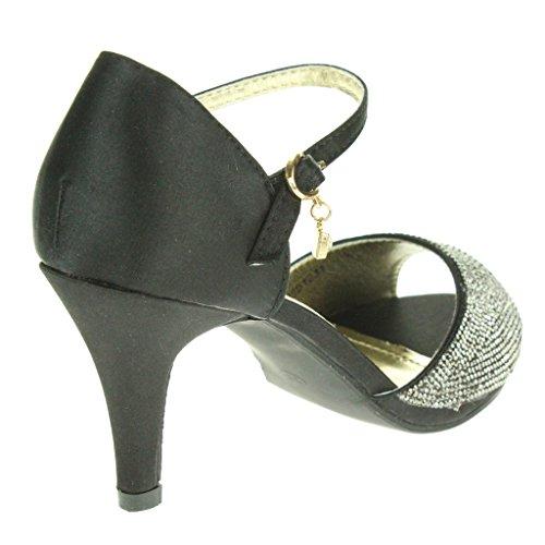 Femmes Dames Diamante Soir Mariage Fête Bal de promo De mariée Milieu Talon haut Sangle de cheville Des sandales Chaussures Taille Noir.