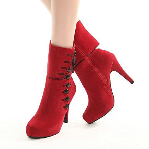 Oasap Femme Boots Faux Suède Boutons Décoration Zippé red
