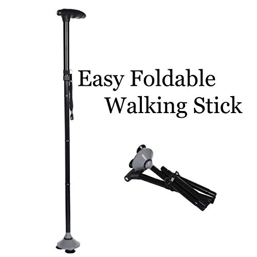RNAZLIS® Foldable Tripod Walking Stick for old men and women with LED Light and Adjustable Walking Stick