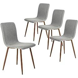 coavas Esszimmerstühle 4er Set Küchenstühle Schöne Form Bequeme Stühle mit stabilen Metallbeinen für Esszimmer, Grau