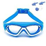 Lunettes de protection UV cadre large vision Lunettes de natation (âge 6 Ans) nez Bouchons d'oreille Clip Masques de plongée...