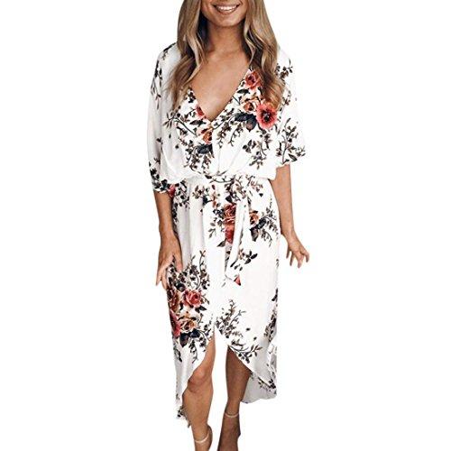 JIANGfu robes femme elegante Femmes d'été manches d'été Slim de plage floral feuille imprimé longue Robe par