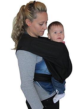 Porte bébé écharpe de portage sans noeud noir réglable