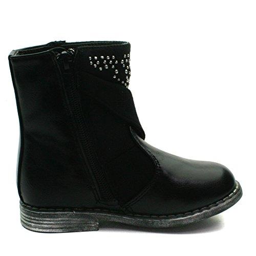 MS014 Miss Sixty Zipup Baby Boot with Studding Detail High for Girls >      > Bébé mi boot avec détail bonnettes pour les filles Black (noir)