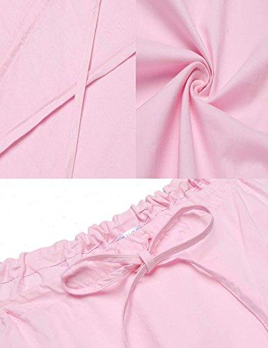 ADOME Damen Nachthemd Baumwolle V Ausschnitt Streifen Schlafkleid lange Pyjama Still Schwarz/Blau 6012_Rosa
