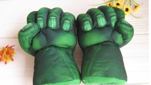 Image of Hulk Smash Hands Soft Toy Doll Gloves Big Green One Pair Fun New