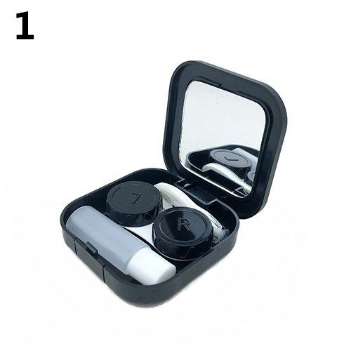 Clifcragrocl, Kontaktlinsenbehälter, Reise-Set, Aufbewahrungsbox, Spiegelbox, Schwarz -