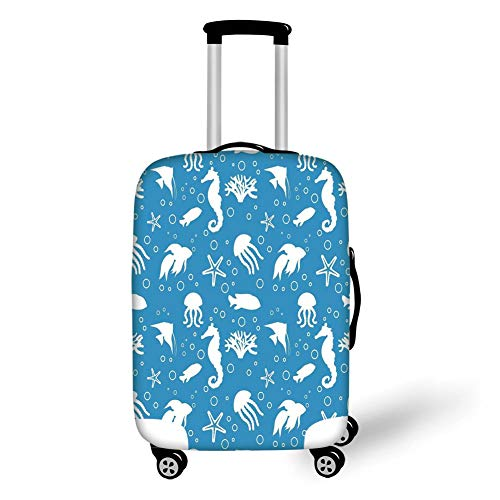 Travel Luggage Cover Suitcase Protector,Animal Decor,Mix of Seahorses Pipefishes and Others Swimming Dive Deep Zone Summer,Turquoise White,for Travel -