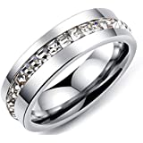 Unisex Silver Ring with White Zircon Ring and Size 9