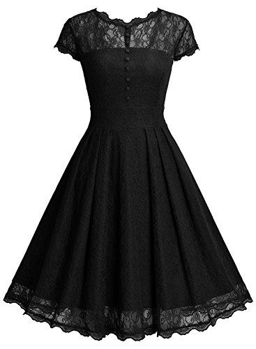 Miusol Damen Elegant Spitzenkleid Cocktailkleid Knielanges Vintage 50er Jahr Abendkleid Schwarz Gr.M - 2