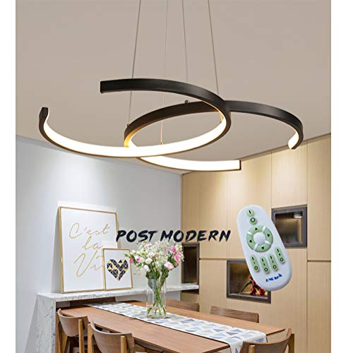 Gold-runde Glas-esstisch (LED Pendelleuchte Esstisch Hängeleuchte 38W Dimmbar mit Fernbedienung Pendellampe, Modern Landhaus Stil Acryl Lampenschirm Design Kronleuchter für Wohnzimmer Deckenleuchte Esszimmer Lampe (Schwarz))