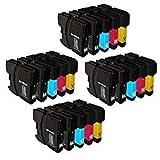 20x XL kompatible Druckerpatronen für BROTHER ersetzt LC 980, LC1100 - Farben: 8x Black und je 4x Color