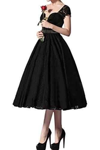 ivyd ressing robe courte dentelle Thé manches longue robe de soirée Party Prom Lave-vaisselle robe robe du soir Schwarz