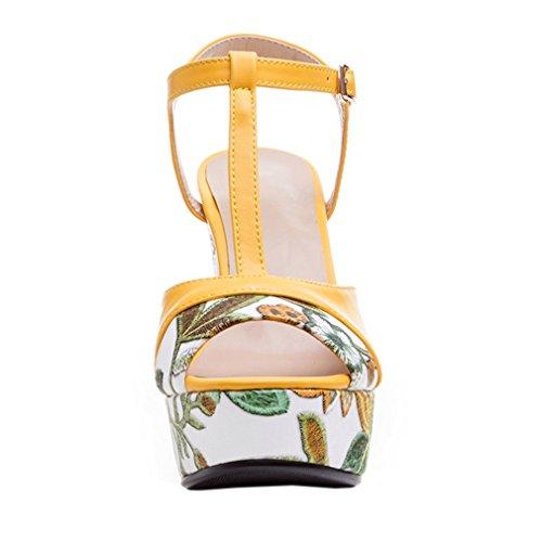 ENMAYER Womens PU Materiale Tacchi alti Cinturino in cinghia Piattaforma Block Heels Sandali Dress Sandali Giallo#83