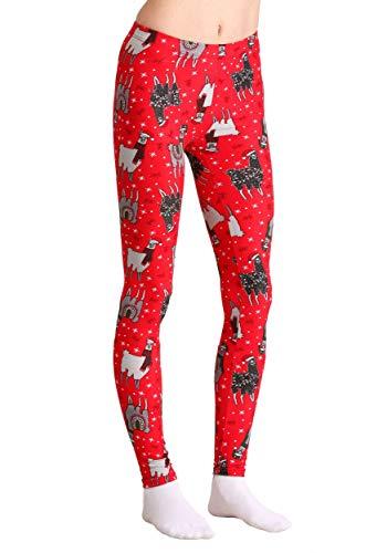 01edd038df35 Just One Wholesale Ugly Christmas Llama Print Red Leggings Medium