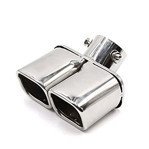 sourcingmap® Silver Tone Dual Square Slant Tip Exhaust Muffler Tail Pipe 60mm Inlet Inner Dia