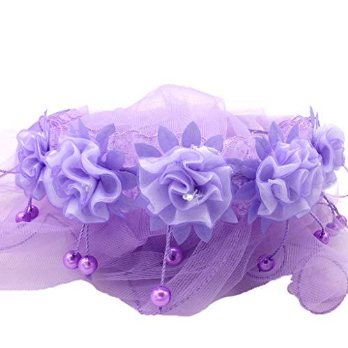 Chenpaif children girls little princess hairband one layer tulle veli da sposa fiori ghirlanda wedding party wreath fascia di colore solido in rilievo tassel 5 colori pueple