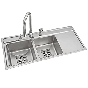 Anupam Stainless Steel Kitchen Sink SS814UT (1145 x 510 x 200 mm / 45 x 20 x 8 inch) double Square Bowl with Drain Board 316 Grade, Satin/Matt Finish