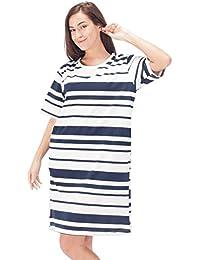 d988feae2d07 WEWINK CUKOO Ladies Nightwear 100% Cotton Striped Nightdress 3 4 Long  Sleeved Nighties Nightshirt