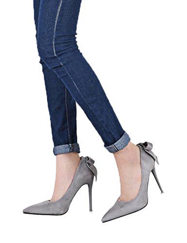 Ante Mujer Tacones altos Zapatos Bowknot Fiesta Zapatos de tacón Gris Stiletto Vestir Zapatos de tacón De BIGTREE 35 EU