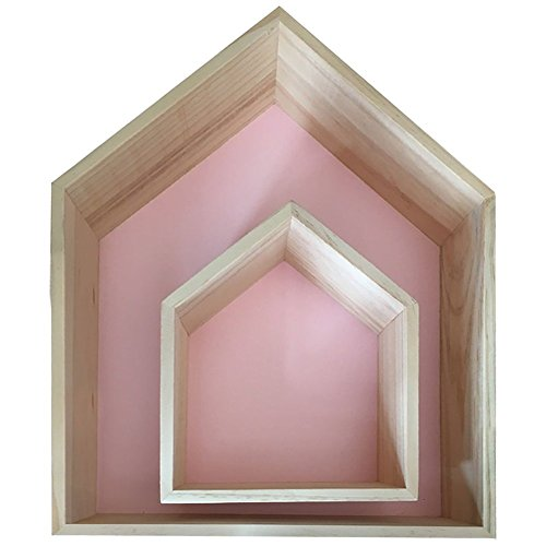 Da Jia Inc 2pcs Haus Design Wandregal Bücher CD Regal Cube Hängeregal holzregal Zimmer Wanddekoration - Pink