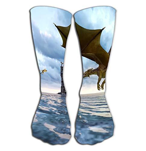 Hohe Socken Outdoor Sports Men Women High Socks Stocking d fantasy dragon mythical island d fantasy dragon mythical island fantasy fairy tale sea monster d rendering book Tile length 19.7