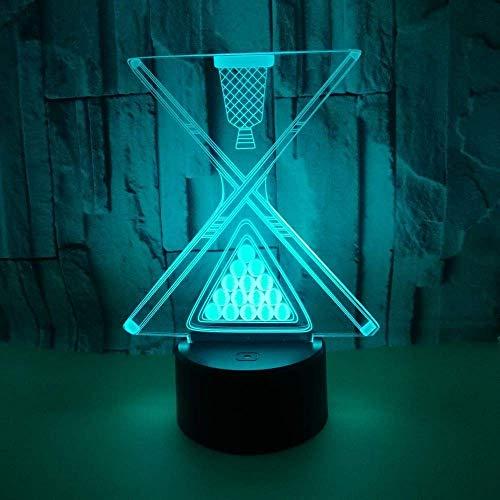 Preisvergleich Produktbild Yter Tischlampe Schreibtischlampe Nachtlicht Billard Style 3D Nachtlicht Bunte Touch Fernbedienung Led Acryl Tischlampe Geschenk Zum Lesen,  Arbeiten und Studieren im Schlafzimmer