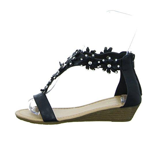 ideal shoes JT-2412 Damen Sandalette eleganter Boden Schwarz (Schwarz)