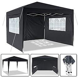 Laiozyen Pavillon 3mx3m, Tente de pavillon Pliable imperméable à l'eau, Tente de pavillon Pliante avec 4 côtés pour Jardin/fête/Mariage/Pique-Nique/marché (Noir)