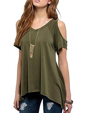 Fortan ocasionales de las mujeres con cuello en V del hombro de la camiseta de manga corta de estiramiento sólido...