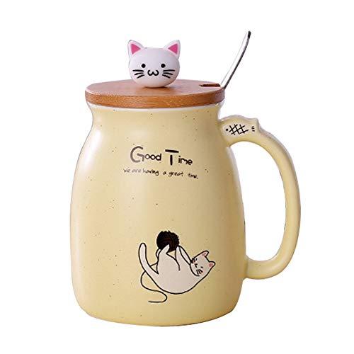Lifemaison Cat Keramik Becher hitzebeständige Tasse mit Löffel Deckel Drinkware Kinder Geschenk mit Cartoon Katze Deckel Milch Kaffee Keramik Kinder Becher Büro Paar Tasse 420 Ml